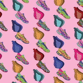Winged Shoes - Pink Background