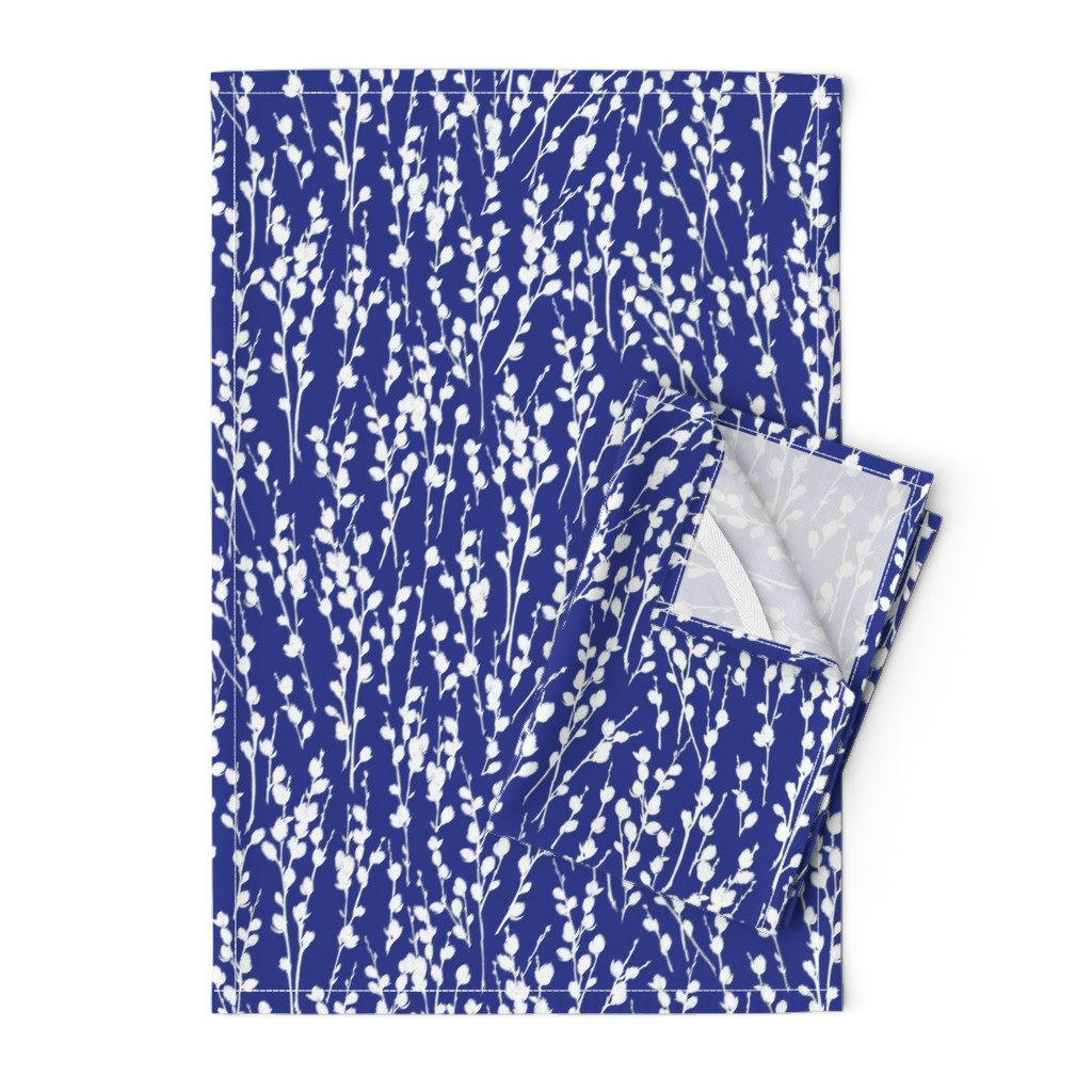 """Orpington Tea Towels featuring 12"""" Willow   Deep Blue + White by southwind"""