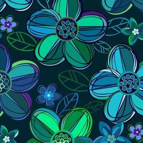 1970s style flowers in jewel tones - blues