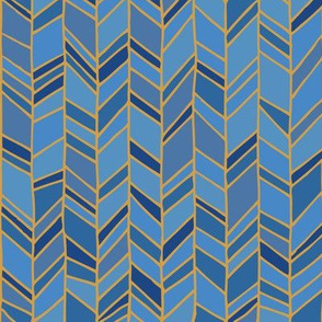 Blue, Navy, and Gold Chevron