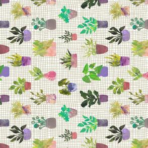 House Plants on Grid - Stylized Collage Plants - Sideways