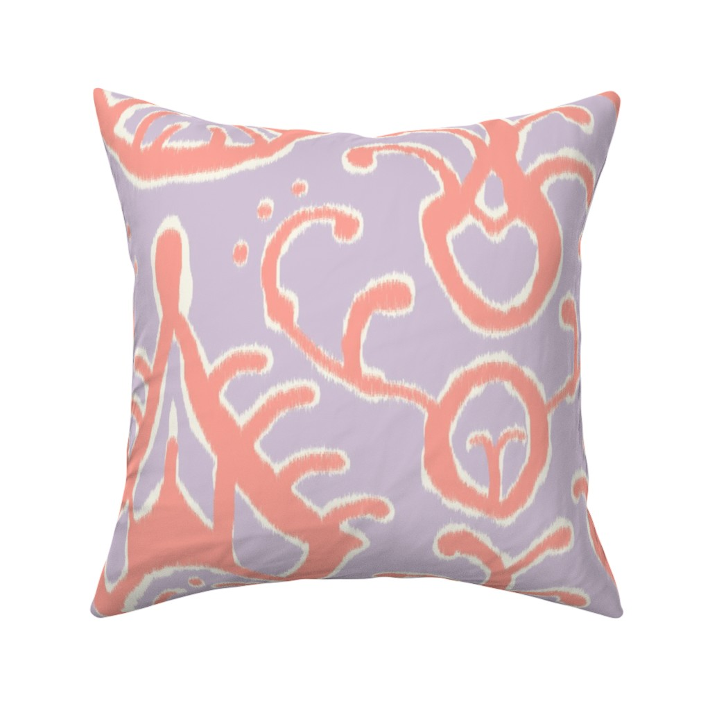 Catalan Throw Pillow featuring Lilac and coral ikat by domesticate