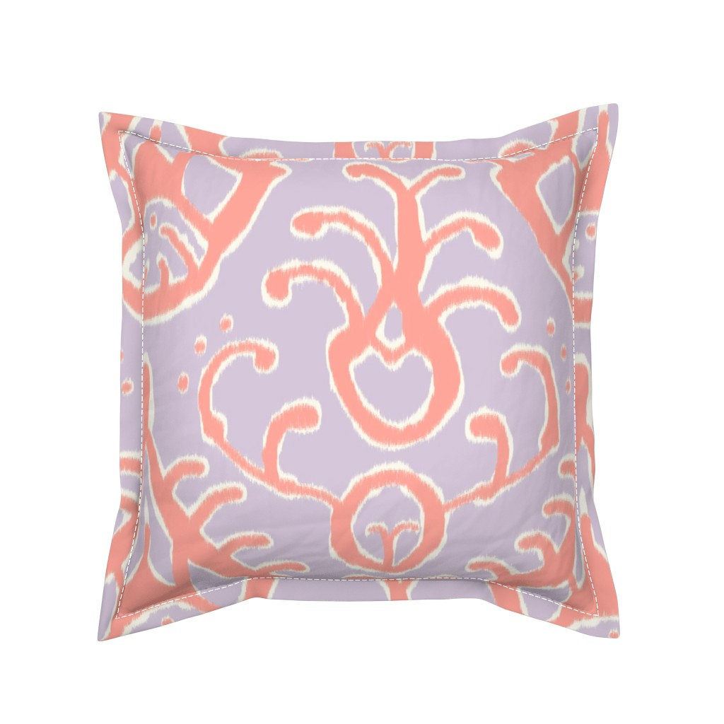 Serama Throw Pillow featuring Lilac and coral ikat by domesticate