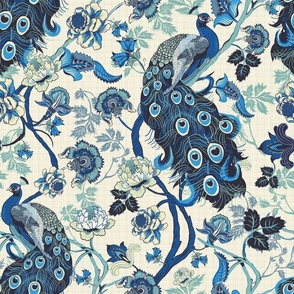 Chinoiserie Blue Linen effect