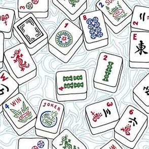Mahjong Tiles Across a Light Background