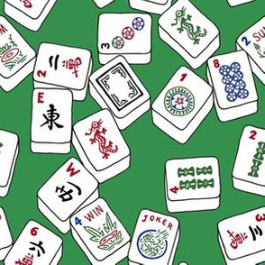 Mahjong Tiles on Classic Solid Green Background