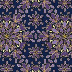 Blue Purple Night Snowflake Christmas, Gold Lining