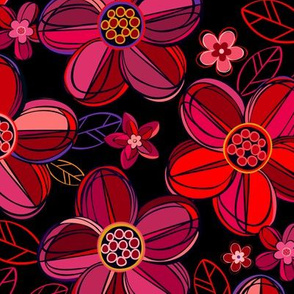 1970s  style flowers in jewel tones - reds
