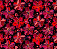 1970s  style flowers in jewel tones - reds