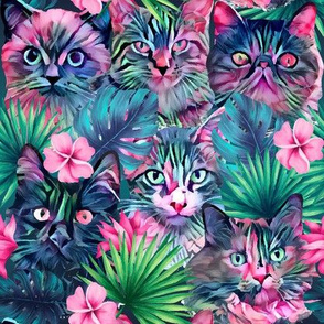 Summer floral cats - small