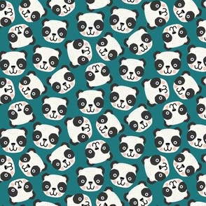 Happy scandi pandas on blue teal (small scale)