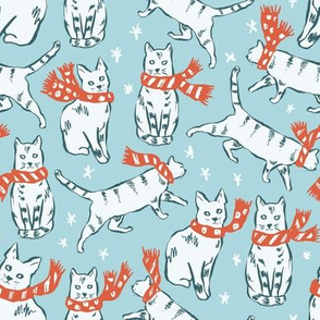 cats in Christmas scarves