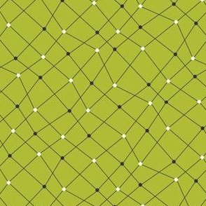 Molecular Dots and Lines - Navy and White on Green