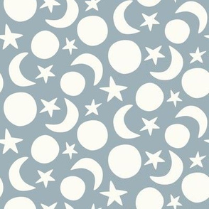 moon and stars coordinate blue and cream scandi (small scale)