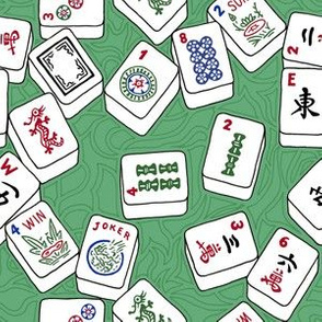 Mahjong Tiles on Green with Swirls Background
