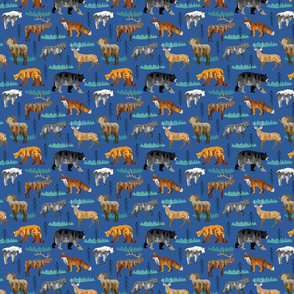 Moutain animals blue small scale