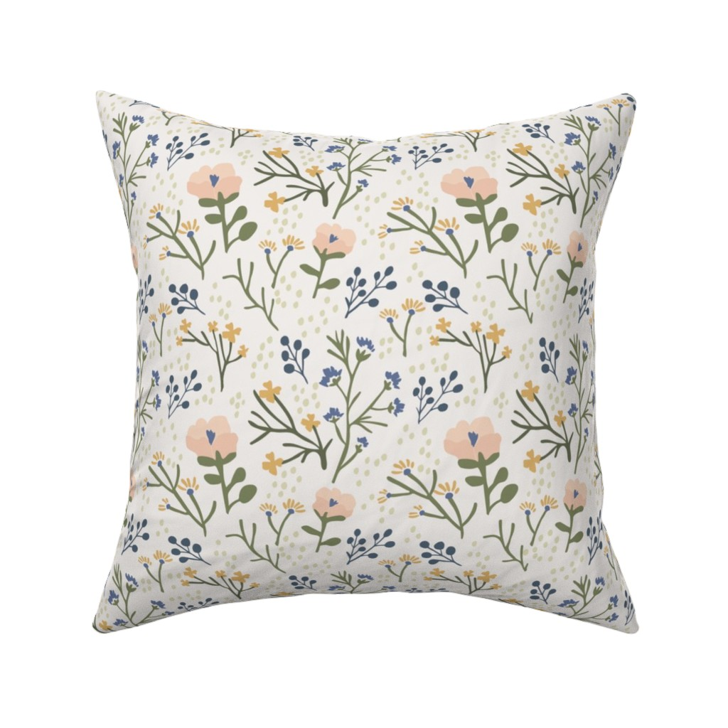 Catalan Throw Pillow featuring Whimsy Floral by jillianhelvey