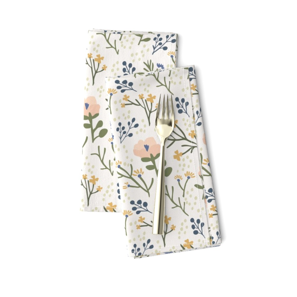 Amarela Dinner Napkins featuring Whimsy Floral by jillianhelvey