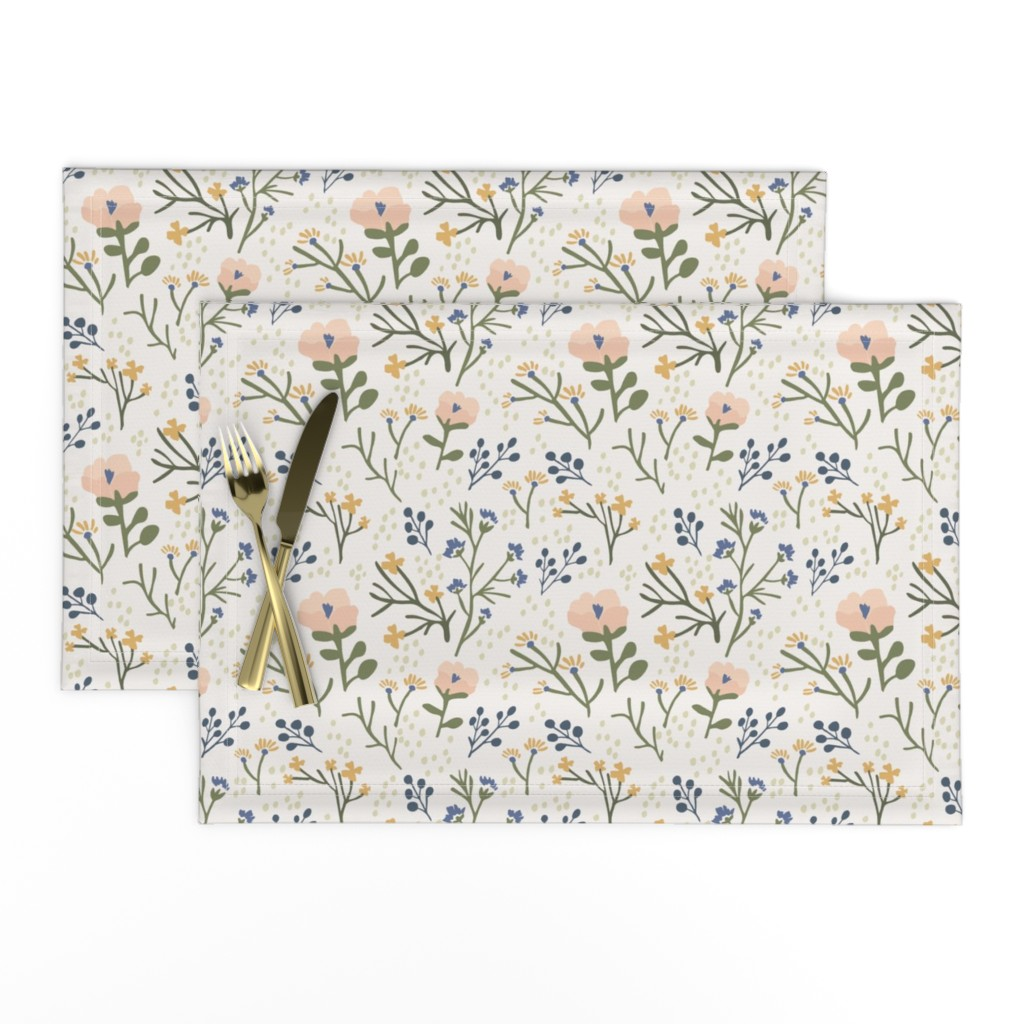 Lamona Cloth Placemats featuring Whimsy Floral by jillianhelvey