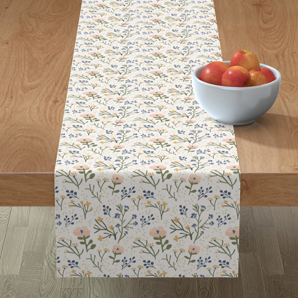 Minorca Table Runner featuring Whimsy Floral by jillianhelvey