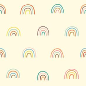 Rainbow Pattern on Yellow Background