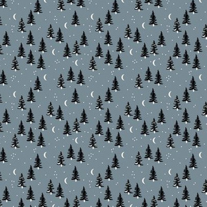 Christmas forest pine trees and snowflakes winter night new magic moon boho cool gray SMALL