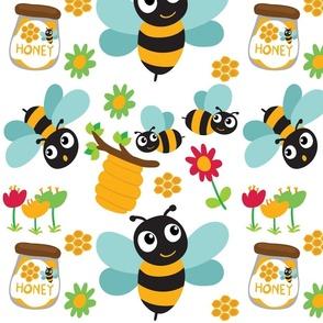 Bee Cartoons on white