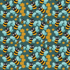 Bees and Honeycombs on blue