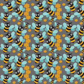 Bees and Honeycombs on gray