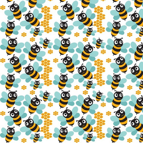 Bees and Honeycombs on white