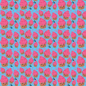 Pink Emoji happy ice cream on blue