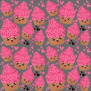 Pink Emoji happy ice cream on gray