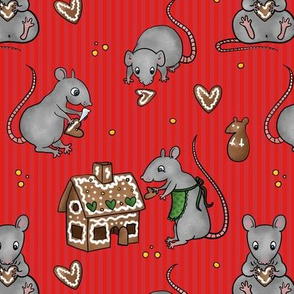 Rats making gingerbread house -red