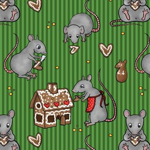 Rats making gingerbread house -green