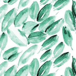 Emerald nature delight • smaller scale • watercolor leaves for modern home decor