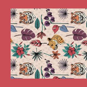 Tropical Jungle Cats Tea Towel