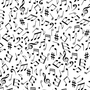 scattered music notes black on solid white