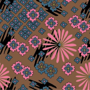 Japanese Pattern - Pink and Blue on khaki