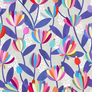 Rainbow Floral Pattern on Beige-Grey Background