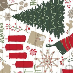 Cozy Spanish Christmas Traditions // Feliz Navidad // Bi-lingual Christmas Trees, Carols, Greetings, Mulled Wine, Mittens, Bells, Gingerbread, Gifts, Jingle Bells, Ice Skates // Alegria para el mundo, Arbol de Navidad, Noche Silenciosa, Blanca Navidad, La