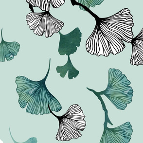 Ginkgo leaves on green large scale