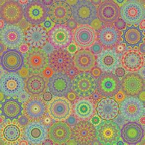 Kaleidoscopic Mandalas - Sepia / Vintage Rainbow Tones w/ bright accents