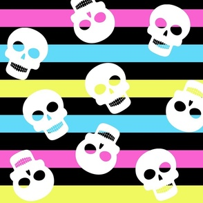 Girl Stripe Big with Skulls Halloween