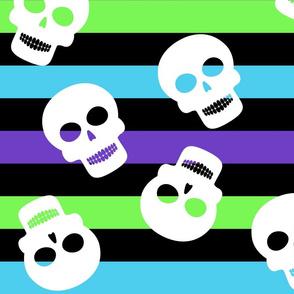 Glow Worm Stripe Big with Skulls Halloween