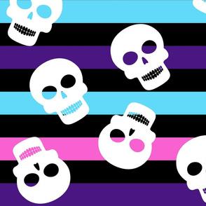 Pink Stripe Big with Skulls Halloween