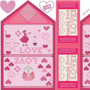 Cross Stitch Valentine Envelope & Needle Book Pair
