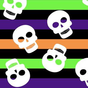 Stripe Big with Skulls Halloween