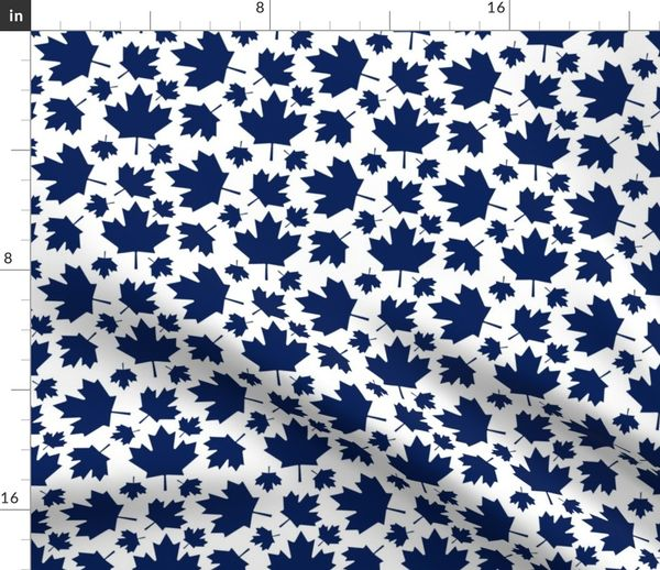 Maple Leafs Leaves Blue White Spoonflower