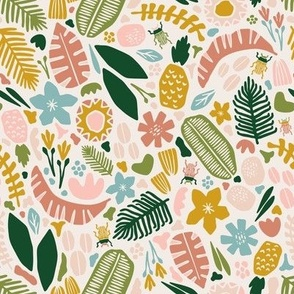 SMALLER SCALE Tropical Adventure Woodcut // Colorful Geometric Florals, Botanicals, and Bugs // Pineapple, Palm Tree, Banana Leaf, Coffee Beans, Beetles, Fronds, Garden, Escape, Citrus, Fruit