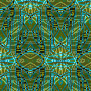 Emerald and Turquoise and Olive Green Tribal Cactus